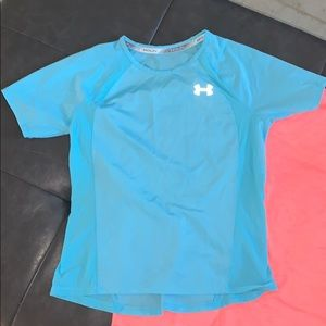 Under Armour Girl's Dry fit Running Teal T-shirt